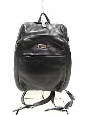 Pre-Owned Perlina Backpack Bag Black Leather Photo Holder,Front Zip Pocket