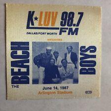 Beach Boys Arlington Stadium June 14, 1987 Souvenir Cloth Sticky Pass Unused
