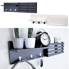 "24"" X 6"" Wall Shelf and Mail Holder Coat Key Rack Home Wall Mount with 3 Hooks"