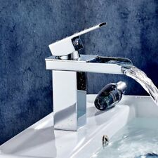 Waterfall Basin Sink Tap Square Mixer Chrome Mono Bloc Luxury Bathroom Cloakroom