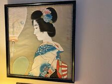 ANTIQUE 1950s VINTAGE ORIGINAL PAINTING OF JAPANESE GEISHA GIRL ON SILK