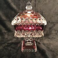 Vintage Westmoreland Cranberry Flashed Glass Pedestal Wedding Compote Candy Dish