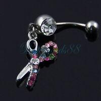 V141 Gold Steel Belly Naval Ring Piercing Barbell Crystal Double Gem Light Dark