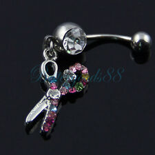 Multicolor Hair Stylist Scissors Dangle Belly Button Naval Rings 14 Gauge Body