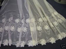 Cream Heavy Quality Embroidered voile made to size (25475)