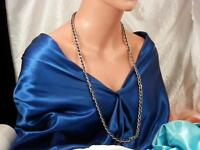 Very Nice Vintage 1970's Signed Trifari Silver Tone Chain Necklace 57J