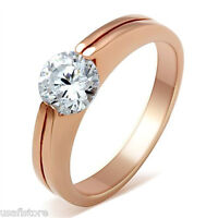 0.85ct Clear CZ Double Band  Rose Gold EP Ladies Fashion Ring