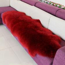 Farm Genuine Real Double Pelt Sheepskin Wool long carpet 6'x2' fur Rug Wine red