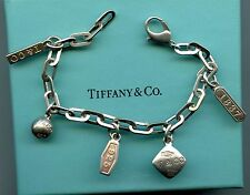 Tiffany & Co. 1837 T & Co. Balls Tags Charms 925 Sterling Silver Bracelet 7.5""