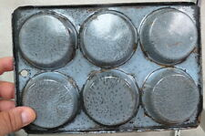 civil war era gray granite biscuit pan / mold / very trail worn / log cabin old