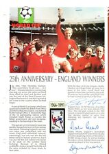 Bobby Moore, Geoff Hurst, Martin Peters hand signed World Cup Winners sheet