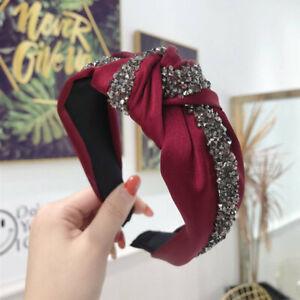 Women's Rhinestone Tie Headband Hairband Crystal Knot Hair Band Hoop Accessories