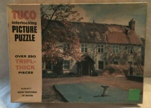 Vintage Tuco Interlocking Picture Puzzle Roof Thatching in Devon Tripl-Thick