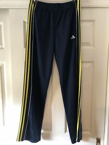 ADIDAS BLUE WITH Yellow STRIPES ATHLETIC PANTS BOYS XL 18
