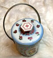 Vintage Murray Allen Confection Candy Tin Rose Flowers Handle Lid England