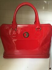 Red Versace patent leather handbag