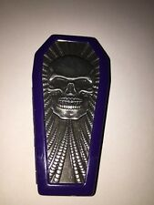"""Pewter Skull Purple Metal Coffin Cigarette Case Holds 8 100""""s Nwt"""