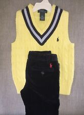 Boys SET top & bottoms 4T corduroys navy &  5T vest yellow/navy RL