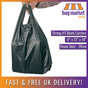"""100 x Black HT Wine/Bottle Carrier Bags   8"""" x 13 x 18""""   Doggy/Nappy/Strong/HD"""