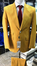 Yellow super 150 Cerrutti 2 button wide peak lapel wool suit-made in Italy