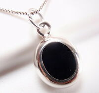 Reversible Black Onyx and Mother of Pearl 925 Sterling Silver Oval Necklace