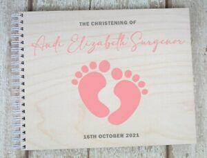 Personalised Christening Guest Book Baptism Baby Handmade Album Little Feet