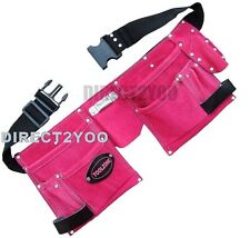 Toolzone Pink Leather Tool Belt Double Pouch 11 Pockets Ladies Hen Fancy Party