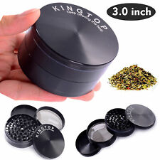 4 Piece Tobacco Herb Spice Grinder Herbal Zinc Alloy Black Smoke Large 3