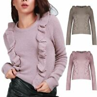 Ladies Front Waterfall Ruffle Frill Top Womens Long Sleeve Fine Knitted Jumper