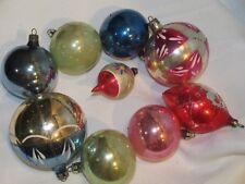 9 POLAND VINTAGE CHRISTMAS ORNAMENTS GLASS BALLS MERCURY PAINTED BALL ORNAMENT