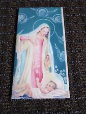 Vintage Christmas Card Mary Jesus Daisies Angel Heads Embossed Unused