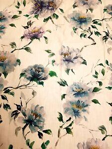 HARPER Furnishing Fabric in  BLUE - 1570mm - 90% cotton, 10% linen