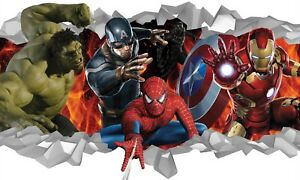 Super Heroes Characters Wall Crack Adhesive Sticker Decal Print Poster Graphic