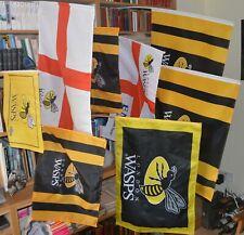 8 various Wasps/London Wasps Flags