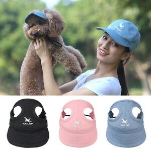 Dog Hat Sun Visor Baseball Cap Ear Holes Chin Strap Sunbonnet Pet Supplies S-XL