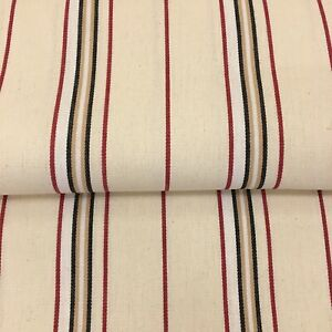 849. TICKING - BLACK RED STRIPES ON CREAM 100% Cotton Fabric, 210cm/ 82inch wide