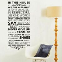 Family Rules Home Decor Wall Sticker Living Room Bedroom Decoration Wall Decal