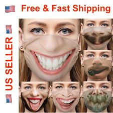 Funny Face Mask Cover Smiley Face Novel Design with Nose Wire 3D Print Washable