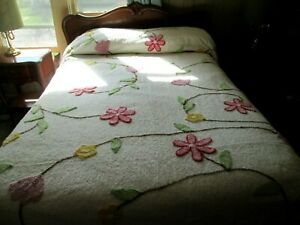 """Gorgeous Plush Pink Yellow Lilac Flowered Chenille Bedspread  - 116"""" x 105"""""""