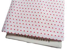 LQ Christmas Fabric Joy Love Peace red dot spot white craft cotton per 1/4 metre