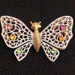 🦋Vintage Enamel Rhinestone Layered Butterfly Brooch Pin Jewelry Lot B