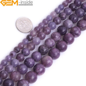 """6mm 8mm Natural Gemstone Lepidolite Round Loose Beads For Jewely Making 15"""""""