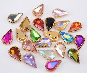 100pcs 8x13mm Sew On Teardrop Settings Colour Crystal Glass Rhinestone Jewels