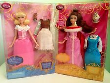 Lot of 2 Disney Store Cinderella and Belle Singing Dolls and Costume Set...New