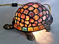 TIFFANY STYLE TURTLE STAINED GLASS ACCENT LAMP/LIGHT  EUC!