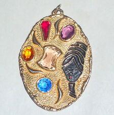 "FAB Vintage 1950's Modernist Glass Jewels & Nefertiti Queen 3"" Necklace Pendant"
