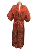 Vintage Red Oriental Print Lined Kimono Made In Hong Kong Women's M