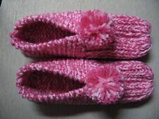 "VTG Grandmas Pattern Knitted House Slippers Pink & Raspberry Womans Medium  9"""