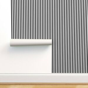 Peel-and-Stick Removable Wallpaper Black + White Vertical Stripes And Classic