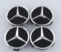 4 x Centre Wheel Caps for Mercedes Benz Alloy SILVER STAR C63 CLA AMG GLE GLC